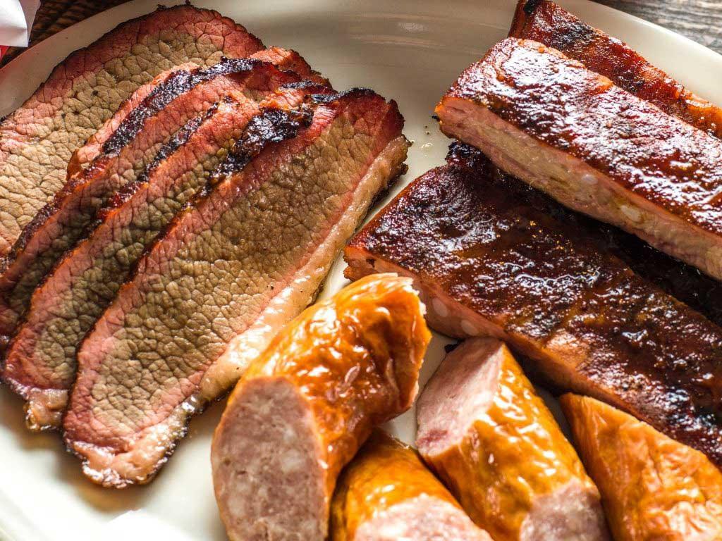 BBQ brisket, sausage and ribs